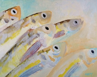Original Fish Oil  Painting, Sea Fish Art, Still Life Painting, Daily Painting, Impressionist Decor