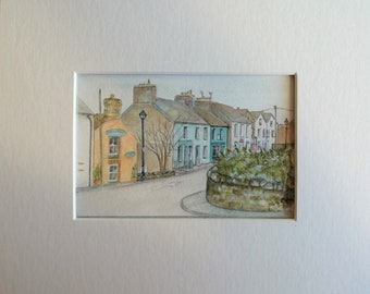 St Davids Street Scene, Pembrokeshire Wales Art, Original Watercolour and Acrylic Painting, Wales Painting, City Artwork, Matted, Wall Decor