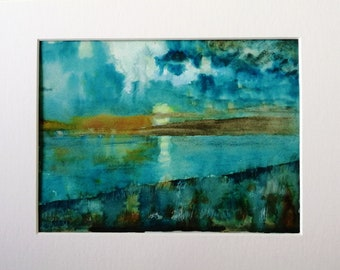 Impressionist Original Watercolor Painting, Evening Lake Painting, Turquoise Blue  Shades, Blagdon Lake Watercolour,  Matted Art, A4 Mount