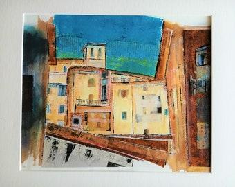 Assisi Mixed Media Painting, Perugia Umbria Italy Art, Original Mixed Media, Italian Landscape, Italian Artwork, 16 x 12, Matted Artwork