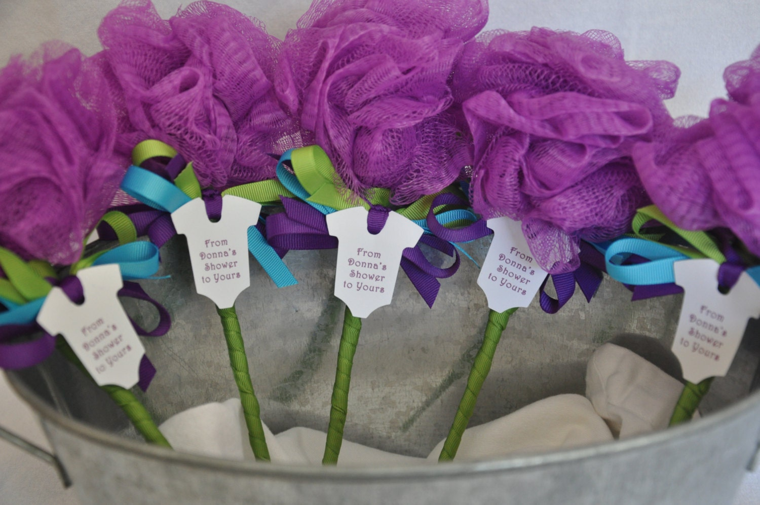 Unique Baby Shower Favor Purple Turquoise And Lime Green Bath Etsy