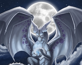 """Dragon Art Print, Fantasy Wall Art, Night Sky and Full Moon, White Dragon with Orb, Gift for Dragon Lover, 8"""" x 10"""", Archival, Open Edition"""