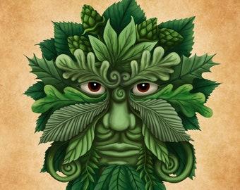 "Green Man Art Print, Leaf Man, Pagan Wall Art, Celtic Decor, Scottish Myth, Spring Print, Lustre Paper, 8"" x 10"", Archival, Open Edition"