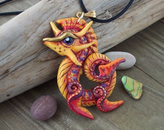Sea Dragon Pendant, Fantasy Statement Necklace, Caribbean Colours, Gift for Dragon Lover, Polymer Clay, Hand-Painted, OOAK