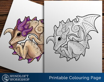 Coiled Dragon Coloring Page, Kawaii Dragon, Cute Fantasy Creature, Downloadable Dragon, Easy to Color, All Ages, Printable, Digital Download