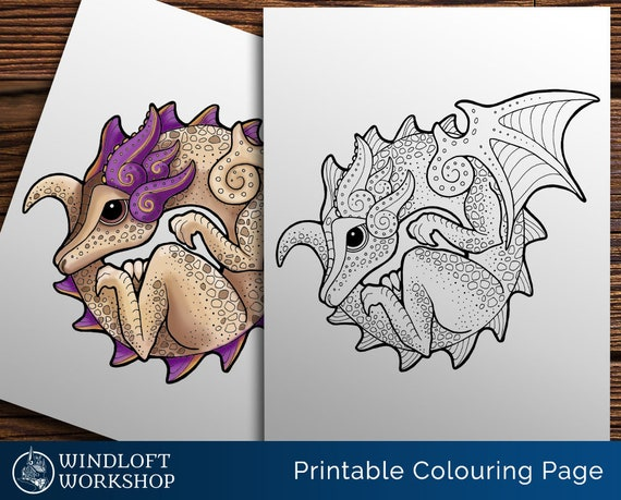 Coiled Dragon Coloring Page Kawaii Dragon Cute Fantasy Creature Downloadable Dragon Easy To Color All Ages Printable Digital Download