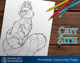 Cait Sith Coloring Page, King of the Faerie Cats, Celtic Myth, Printable, Digital Download