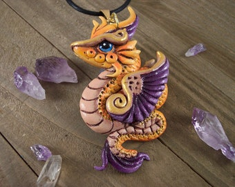 Dragon Pendant Necklace, Feathered Serpent, Royal Colours, Gift for Dragon Lover, Polymer Clay, Hand-Painted, OOAK