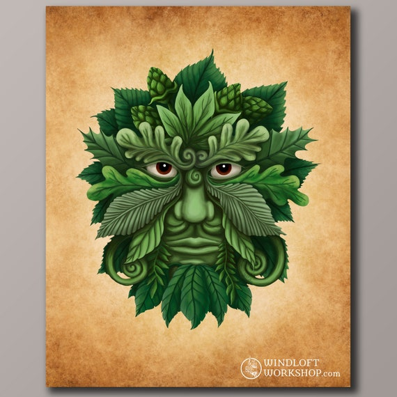 Greenman Art Print Leaf Man Pagan Wall Art Celtic Decor | Etsy