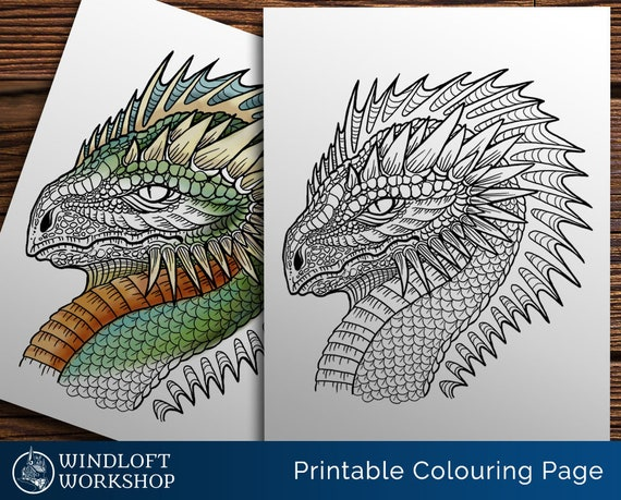 Spiny Dragon Coloring Page Fantasy Creature Horns And Etsy