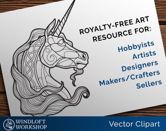 Unicorn Clipart, Fantasy Vector Art, Craft Pattern, Art Resource, Celtic Unicorn, Personal Tattoo, Leather Carving Template, Royalty-Free