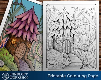 Fairy Home Coloring Page, Fairy House, Magic Garden, Fairy World, Tree House, Fairy Garden, Fantasy Coloring, Digital Download