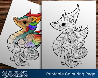 Feathered Dragon Coloring Page, Winged Serpent, Kawaii Dragon, Quetzalcoatl, Fantasy, All Ages, Easy to Color, Printable, Digital Download