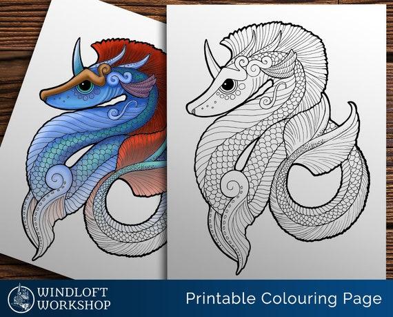 - Water Dragon Coloring Page Sea Serpent Leviathan Sea Etsy