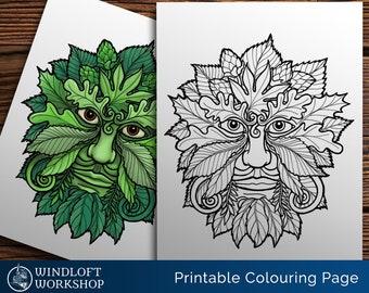 Green Man Coloring Page, Celtic Myth, Faery World, Pagan Magic, Pagan Art, Ghillie Dhu, Leaves and Vines, Printable, Digital Download