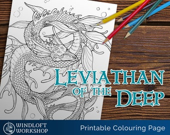 Sea Serpent Coloring Page, Leviathan of the Depths, Greek and Norse Myths, Printable, Digital Download