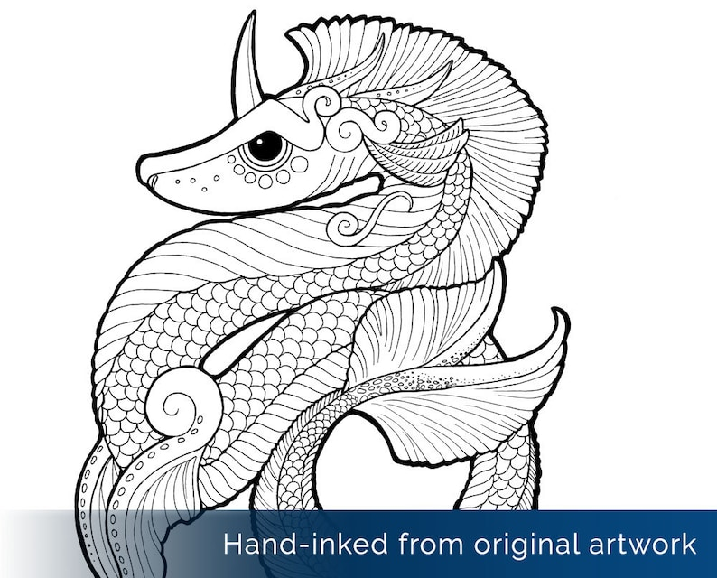 Water Dragon Coloring Page Sea Serpent Leviathan Sea Etsy