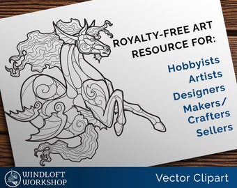 Kelpie Vector Art, Fantasy Clipart, Hippocampus, Stained Glass Pattern, Woodburning, Royalty-Free (Personal, Non-Profit or Commercial Use)