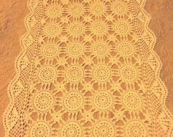 Vintage Tan Beige Crochet Table Runner 50 x 14""