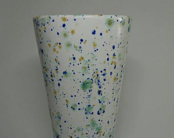 Green speckled vase