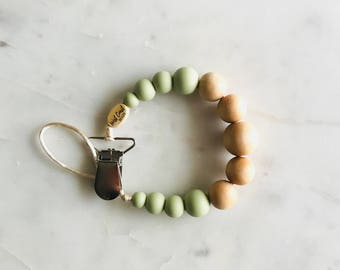 Soother Clip, Pacifier Clip, Teething Necklace, Silicone, Wood, Dummy Clip, Binky Clip