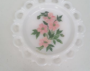 Vintage White Milk Glass Plate Reticulated Edge Hand Painted 1961 Cottage Chic Shabby Style