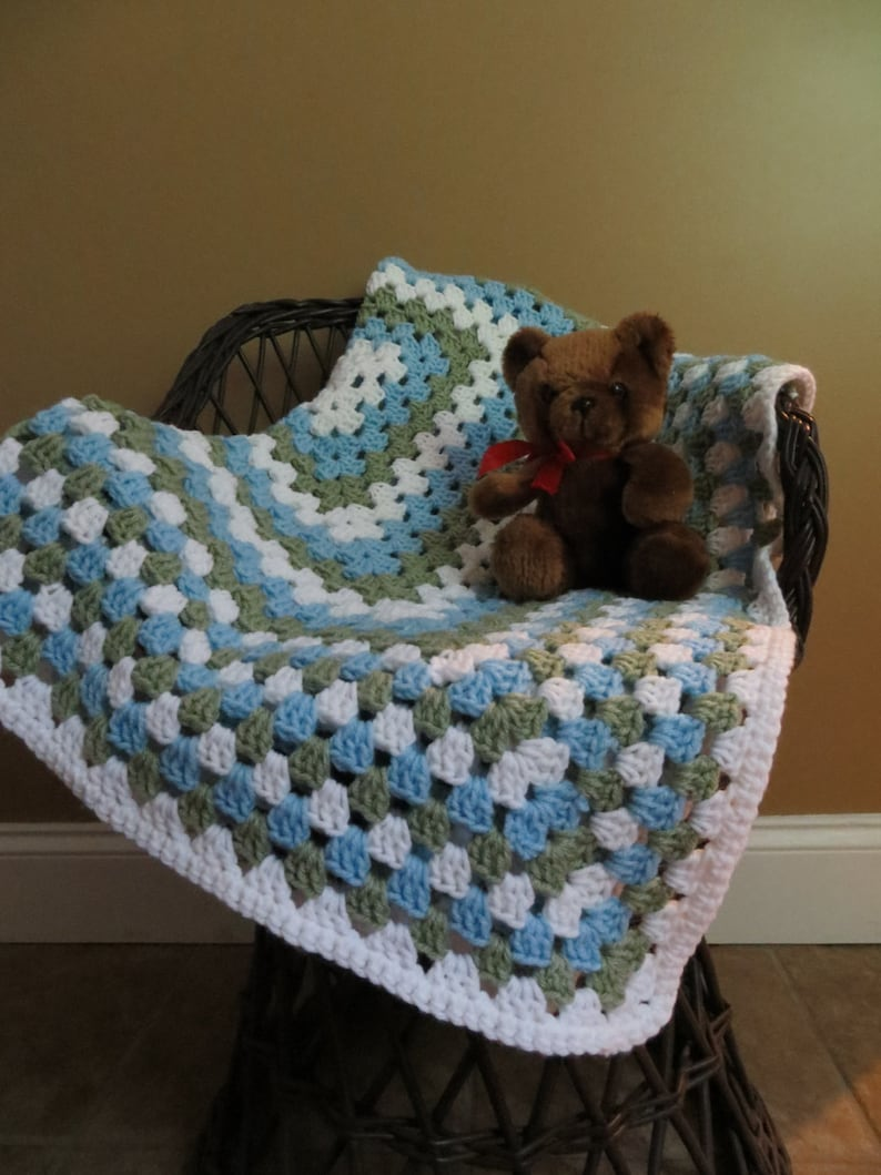 Crochet Granny Square Baby Blanket..Baby Shower Gift..READY TO SHIP