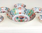 Oriental Bowls - Arita Imari Fan Bowls - Fine Japanese Porcelain - Matching Set - Amazing Design - Bright Colors Red Blue Green Gold White