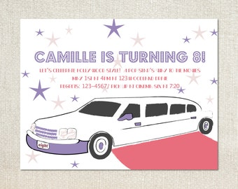 Limo invitation etsy hollywood limo girls movie night birthday party invitations stopboris Image collections
