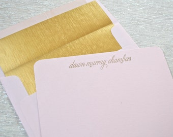 Personalized girls womens pink note cards with gold envelope liners