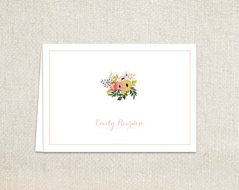Floral bouquet folded note cards stationery