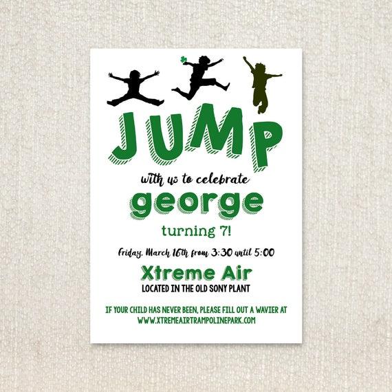 JUMP Boy Silhouette Trampoline Park Birthday Party Invitations