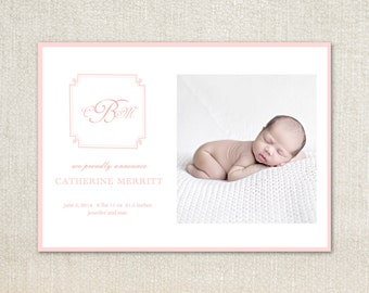 Pink monogram Baby Birth Announcements