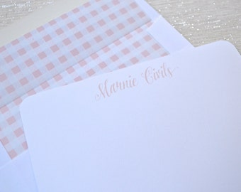 Personalized stationery little girls flat note cards with pink and white gingham envelope liners