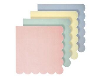 Meri Meri Pastel scallop border napkins pack of 20