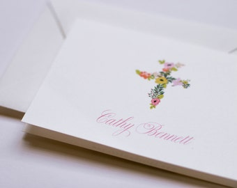 Floral bouquet cross folded note cards stationery