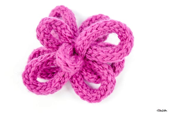 Pink flower flower hair clip french knitted flower hair etsy image 0 mightylinksfo