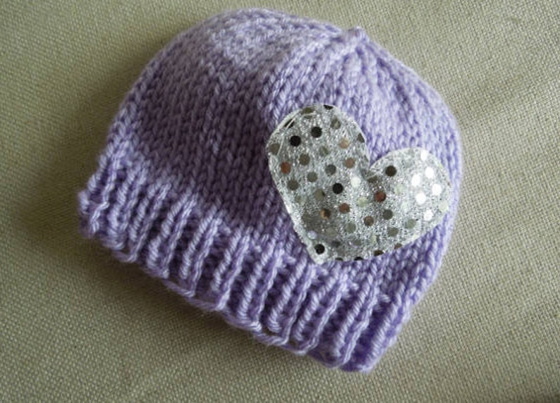 Newborn Girl Hat Baby Shower Gift  Lavender Silver Sparkly Heart Baby Girl Boots New Born Set