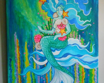 Sabrina The Sea Nymph Acrylic Mermaid Painting 20 x 24 Original