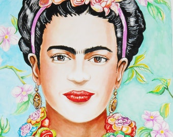 The Softer Side Of My Pain -An Original Watercolor Of Frida Kahlo