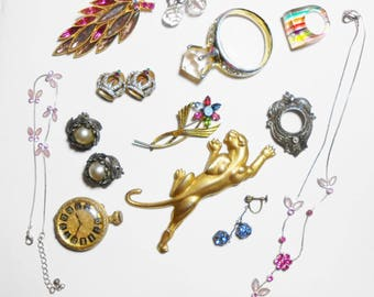 Odd Lot Of Old Costume Jewelry , A Few Real Pieces Too