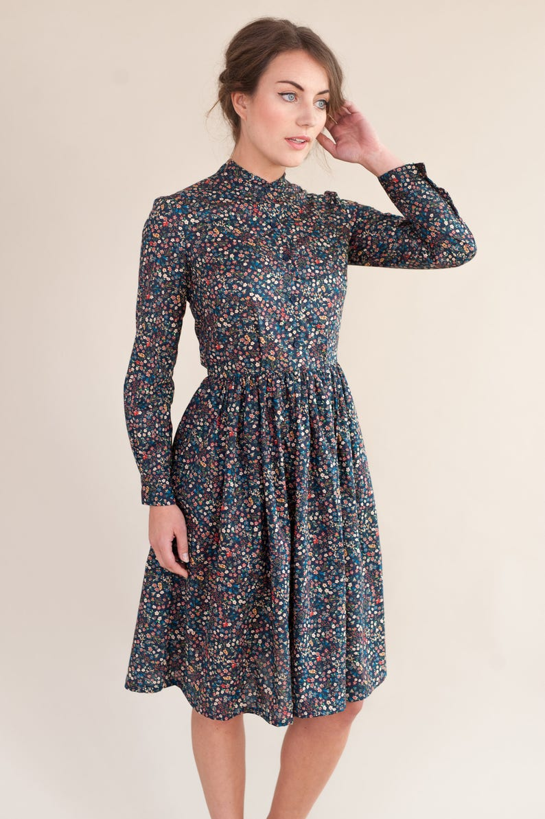 2661a060b604 Long sleeved Liberty print floral dress