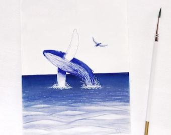 Original whale artwork ocean painting marine life scene art blue home decor watercolour art painting ocean inspired underwater art handmade