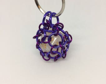 Chainmaille Wrapped 20 Sided Die