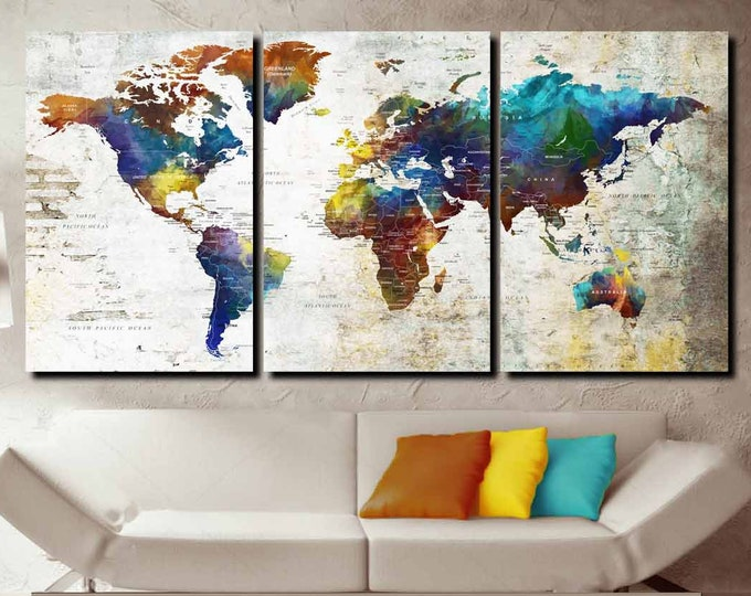 world map wall art, world map canvas print, world map large art, world map push pin, world map watercolor abstract art, world travel map