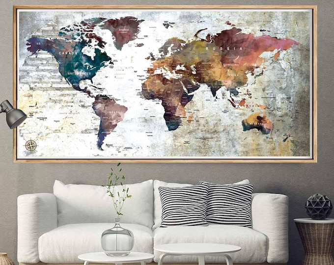 Poster and decal decoufinearts large world map posterpush pin world mapworld map pushpinworld map gumiabroncs Images