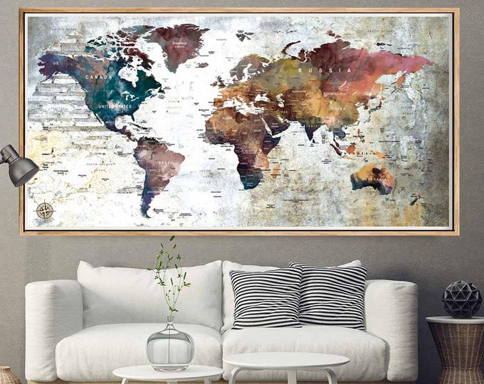 Large World Map Poster,Push Pin World Map,World Map Pushpin,World Map Art,Travel Map Poster,Travel Map, Pushpin Map Poster,World Map Print