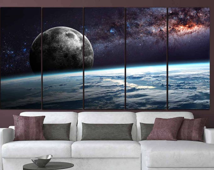 Planet Earth Moon Wall Art,Space Wall Art,Earth n Moon Art,Planet Earth Canvas,Space Canvas Art,Earth Moon and Stars,Moon Poster,Galaxy Art