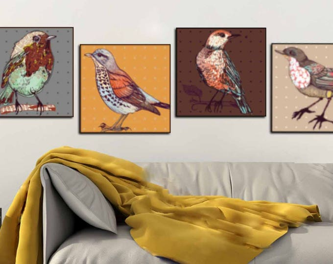 Four Birds Decorative Canvas Wall Art,Birds Art,Birds Wall Art,Birds Canvas Print,Birds Illustration Art,Birds Wall Decor,Birds Art Print,