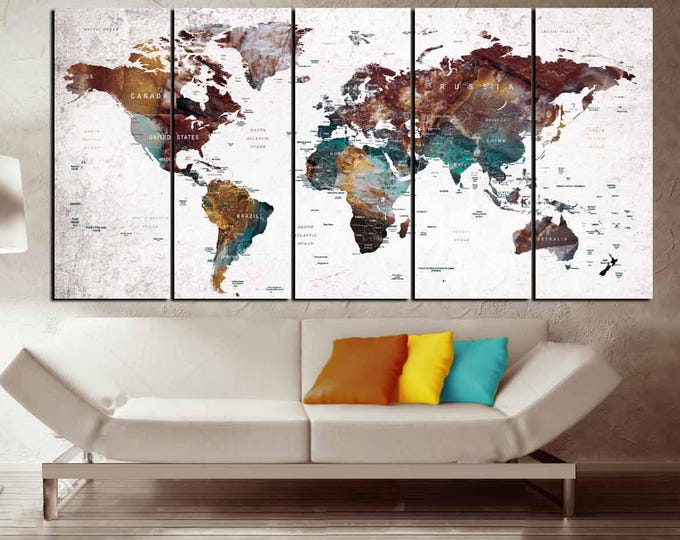 World Map Wall Art,World Map Canvas,World Map Art,World Map Abstract,World Map Push Pin,Push Pin Map Art,Travel Map Push Pin,World Map Art